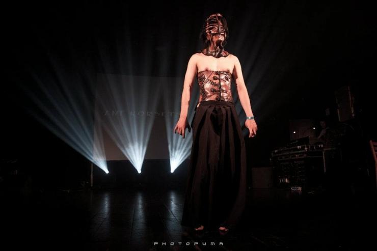 Mask, headcage, leather corset
