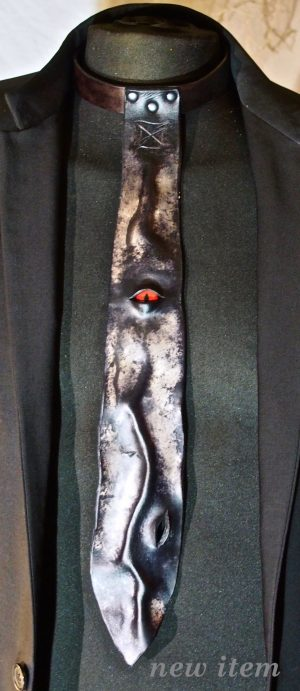 leather tie, wearable art